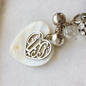 Guess Mother of Pearl Heart Charm Pendant Necklace